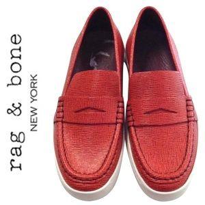 RAG & BONE //Colby red loafer slip on sneaker 38.5